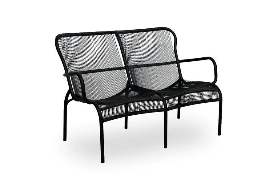 LOOP SOFA_BLACK_POLYETHYLENE WICKER_80x121x79cm