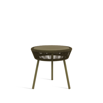 SIDE TABLE LOOP ROPE_MOSS_ALUMINIUM_THERMOPLASTIC POLYPROPYLENE_H51 DIAM 51cm