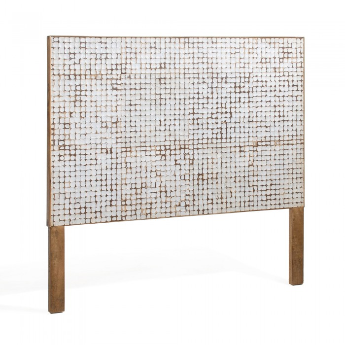 HEADBOARD KOKO_WHITE-NATURAL_COCONUT TILES_COATED WOOD_174x135cm
