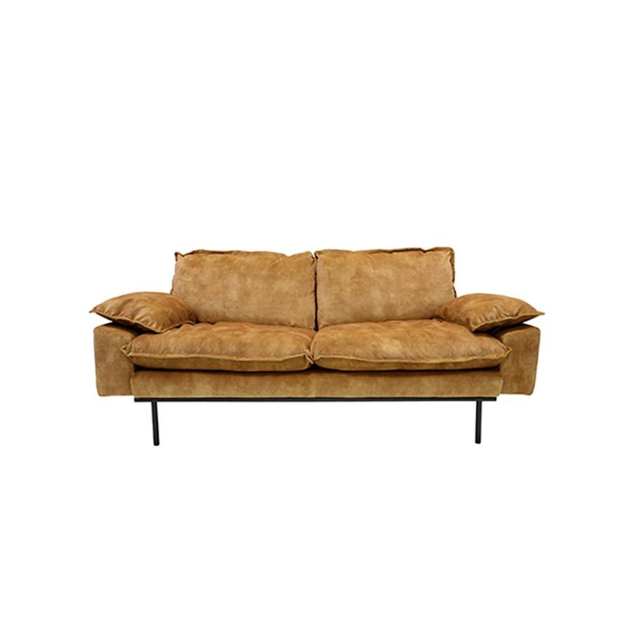 SOFA RETRO 2 SEAT_MUSTARD YELLOW_VELVET_METAL LEGS_83x175x95cm