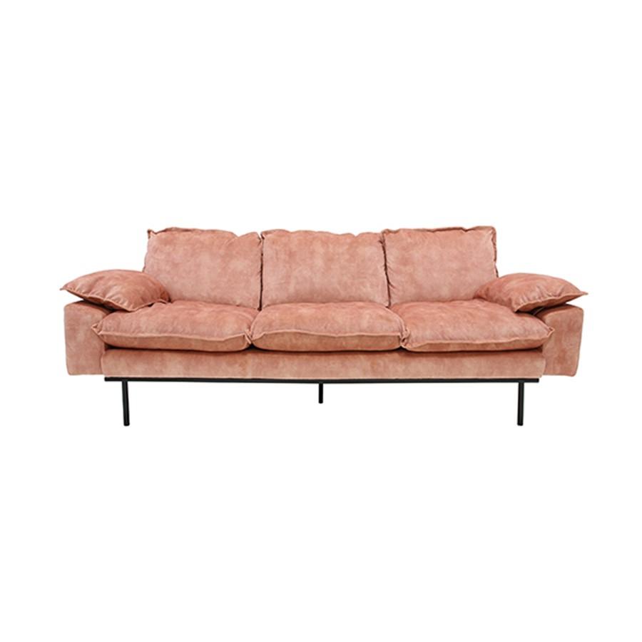 SOFA RETRO 3 SEAT_OLD PINK_VELVET_METAL LEGS_83x225x95cm