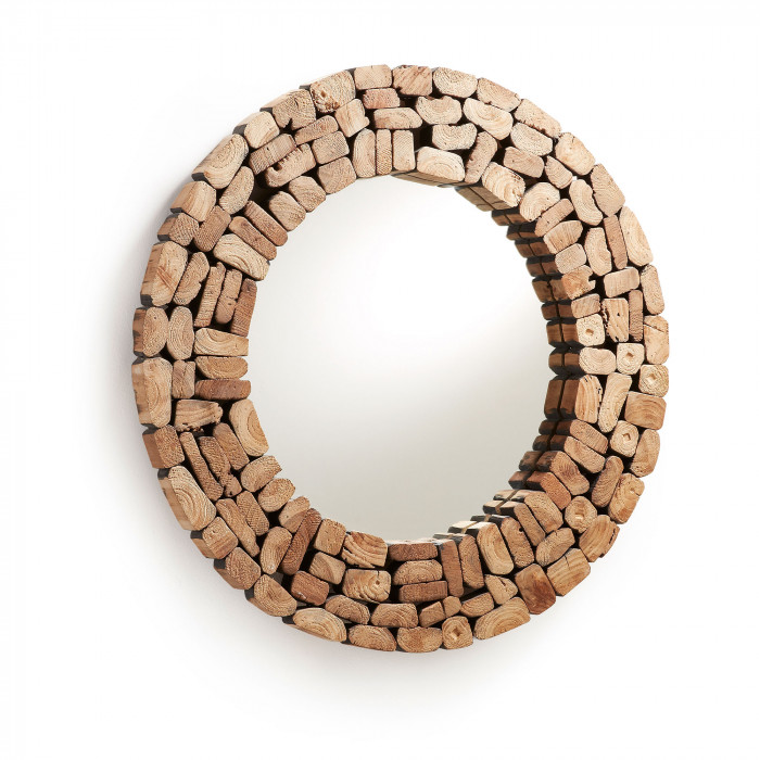 MIRROR ELLIPSE_NATURAL_RECYCLED WOOD_DIAM 80cm
