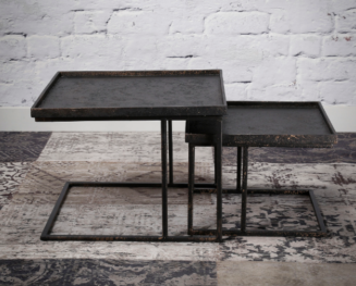 COFFEE TABLE SQUARE SET OF 2_GREY_METAL_44x58x58cm_33x45x45cm_Gallery