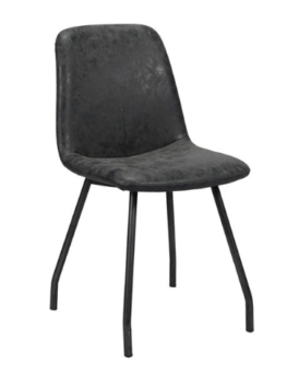 DINING CHAIR UNEVEN_BLACK_WAX PU_STEEL_87x48x47cm