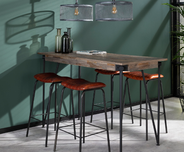 BAR TABLE TEAK140_GREY WASH_BLACK_TEAK_METAL_92x140x70cm