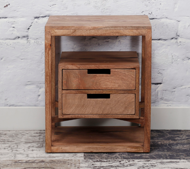 BEDSIDE TABLE FLOATING 2 DRAWERS_SAND_MANGO_55x45x35cm_gallery