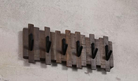 COAT RACK TEAK 6 HOOKS_GREY WASH_BLACK_TEAK_METAL_23x53x9cm