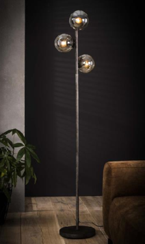 FLOOR LAMP GLASS 3L_SILVER_GLASS_METAL_H170 diam 35cm