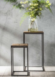 FLOWER TABLE ROBUST SET OF 2_NATURAL_GREY_HARDWOOD_METAL_70x36x36cm_50x36x36cm