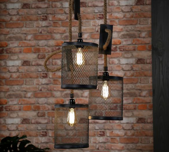 HANGING LAMP 3 x diam 20cm_GREY_METAL_ROPE_170x30x30cm