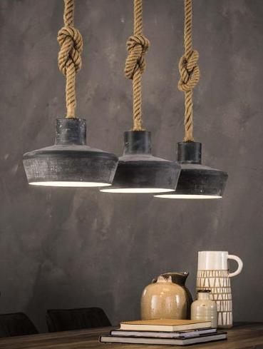 HANGING LAMP ROPE 3 x diam 28cm_GREY_NATURAL_METAL_ROPE_150x110x28cm