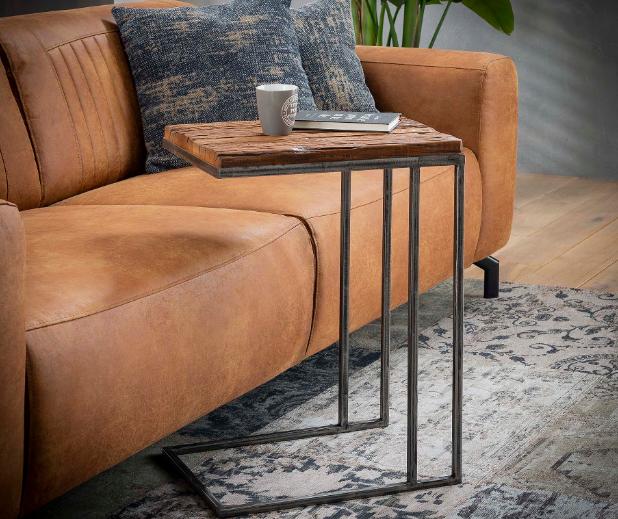 LAPTOP TABLE ROBUST_NATURAL_GREY_METAL_HARDWOOD_62x35x45cm