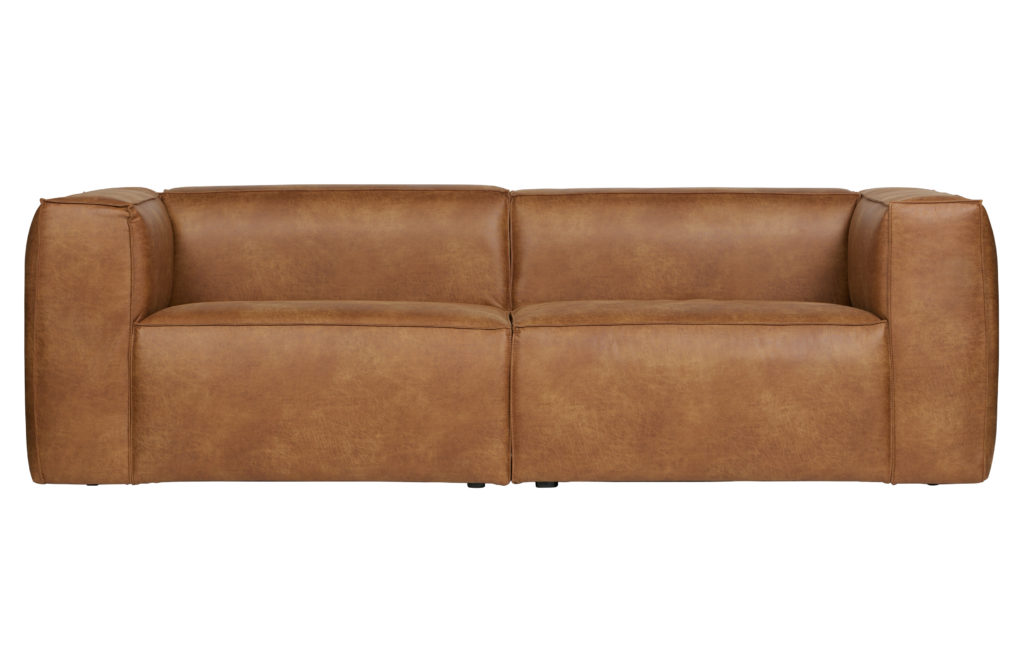 SOFA BEAN 3,5 SEATER_COGNAC_LEATHER_POLYESTER_73x246x96cm