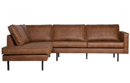 SOFA RODEO CORNER LEFT_COGNAC_BLACK_LEATHER_POLYESTER_METAL_85x266x88-213cm