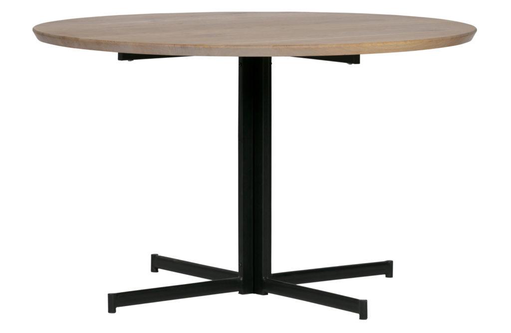 DINING TABLE CROSS 4 LEGS_DIAM 130_OAK TOP_STEEL LEGS_BLACK_NATURAL_H75 diam 130cm