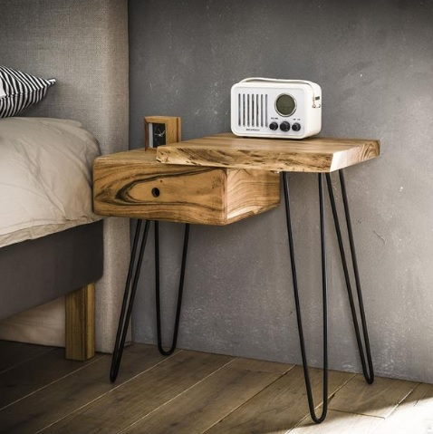 BEDSIDE TABLE ACACIA RIGHT 1 DR_NATURAL_BLACK_METAL_59x60x32cm