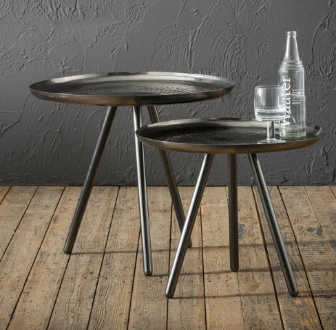 SIDE TABLE STEEL_SET OF 2_BLACK_H43 diam 50cm_H52 diam 58cm