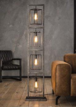 FLOOR LAMP 4 SQUARES_SILVER_METAL_160x34x24cm