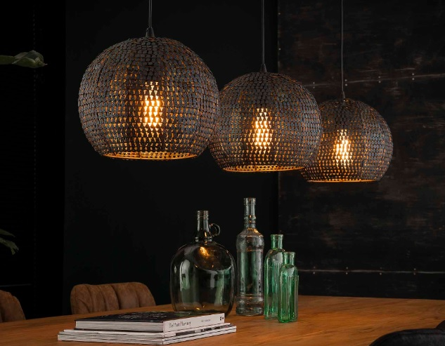 HANGING LAMP ROUND 3 x diam 26cm_BROWN BLACK_METAL_150x128x30cm