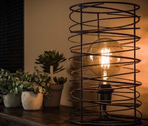 TABLE LAMP CIRCLES_CHARCOAL_METAL_H36 diam 22cm