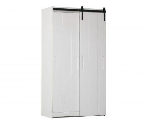 CABINET LUUK 2 DOORS_WHITE_BLACK_PINE_METAL_218x115x62cm