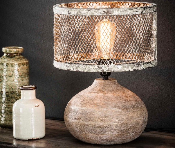 TABLE LAMP CONVICT_GREY_WHITE_WOOD_METAL_H40 diam 31cm
